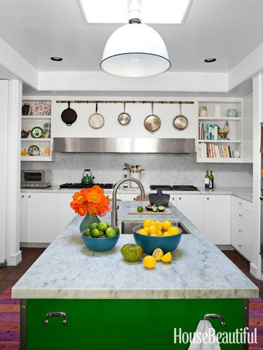 like the kitchen island in this kitchen from house beautiful