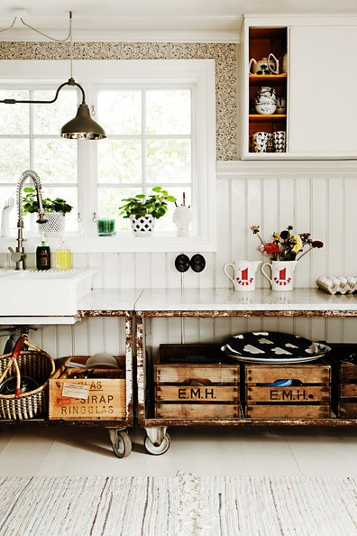 Re-purposed Carts as Counters and Cupboards