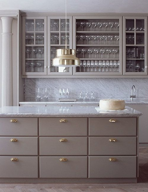 grey cabinets, brass hardware