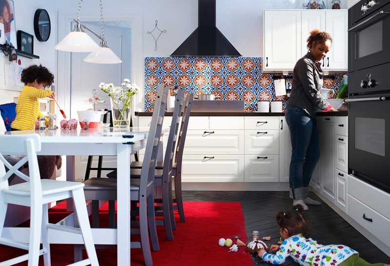 IKEA-White-Kitchen-with-Red-Rug-Design-2011