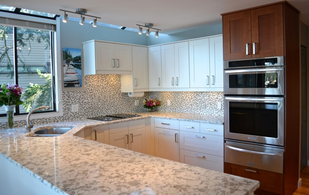 White and medium brown cabinets